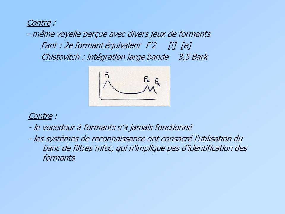 Contre : - même voyelle perçue avec divers jeux de formants. Fant : 2e formant équivalent F 2 [i] [e]